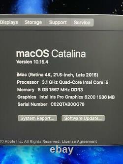 Imac retina 4k 21.5 3.1GHz 8GB, 500GB SSD, LATE 2015