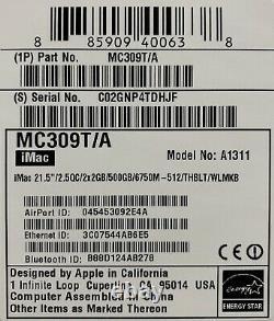 Apple Imac 21.5 Intel I5 Quad Core 2,5 Ghz 2x2 Go Ram 500 Go 6750m