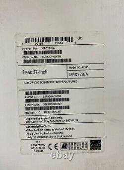 Apple Imac 27 (2019) Bureau 5k Retina Display, 4.1ghz 1tb Mrqy2b/a Version Uk